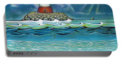 Portable Battery Charger featuring the painting Lighthouse Fish 030414 by Selena Boron