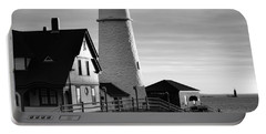 Lighthouse In The Morning In Black And White Portable Battery Charger