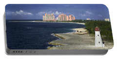 Lighthouse On Colonial Beach With Atlantis Paradise Resort Bahamas Portable Battery Charger