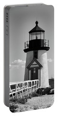 Lighthouse On Nantucket Bw Portable Battery Charger