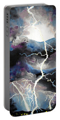 Portable Battery Charger featuring the painting Lightning by Daniel Janda