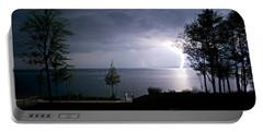 Lightning On Lake Michigan At Night Portable Battery Charger