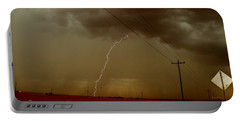 Lightning Strike In Oil Country Portable Battery Charger by Ed Sweeney