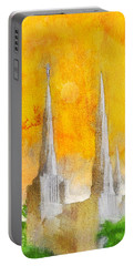 Portable Battery Charger featuring the painting Like A Fire Is Burning - Panoramic by Greg Collins