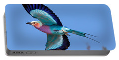 Lilac-breasted Roller In Flight Portable Battery Charger