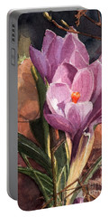 Lilac Crocuses Portable Battery Charger by Greta Corens