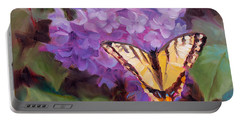 Lilacs And Swallowtail Butterfly Portable Battery Charger by Karen Whitworth