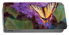 Lilacs And Swallowtail Butterfly Purple Flowers Garden Decor Painting  Portable Battery Charger