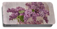 Portable Battery Charger featuring the photograph Lilacs In The Box by Sandra Foster
