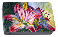 Portable Battery Charger featuring the painting Lilies Twin by Harsh Malik