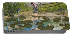 Portable Battery Charger featuring the digital art Lilly Pad Lane by Liane Wright