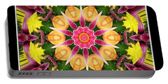 Portable Battery Charger featuring the photograph Lily And Chrysanthemums Flower Kaleidoscope by Rose Santuci-Sofranko