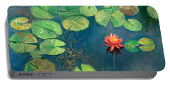 Lily Pond With Pink Flower Portable Battery Charger