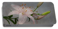 Pink Lily With Texture Portable Battery Charger