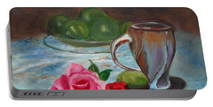 Portable Battery Charger featuring the painting Limes And Roses by Jenny Lee