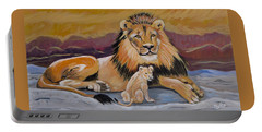 Portable Battery Charger featuring the painting Lion And Cub by Phyllis Kaltenbach