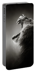 Lion Displaying Dangerous Teeth Portable Battery Charger by Johan Swanepoel