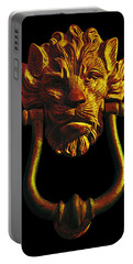 Lion Head Antique Door Knocker In Black And Gold Portable Battery Charger by Jane McIlroy