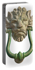 Lion Head Antique Door Knocker On White Portable Battery Charger by Jane McIlroy
