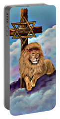 Portable Battery Charger featuring the painting Lion Of Judah At The Cross by Bob and Nadine Johnston