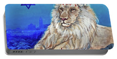 Portable Battery Charger featuring the painting Lion Of Judah - Jerusalem by Bob and Nadine Johnston