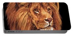 Portable Battery Charger featuring the painting Lion Of Judah - Menorah by Bob and Nadine Johnston