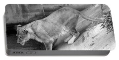Portable Battery Charger featuring the photograph Lioness Black And White by Joseph Baril