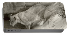 Portable Battery Charger featuring the photograph Lioness Sepia by Joseph Baril
