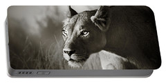 Lioness Stalking Portable Battery Charger by Johan Swanepoel