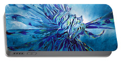 Lionfish Abstract Blue Portable Battery Charger