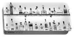 Liquor Bottles - Black And White Portable Battery Charger