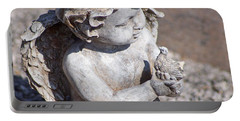 Little Angel With Bird In His Hand - Sculpture Portable Battery Charger