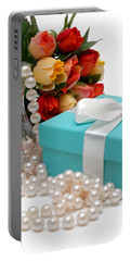 Little Blue Gift Box With Pearls And Flowers Portable Battery Charger