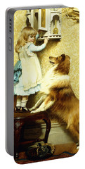 Little Girl And Her Sheltie Portable Battery Charger