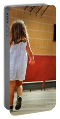 Little Girl In White Dress Portable Battery Charger by Mary Machare