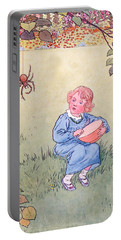 Little Miss Muffet Portable Battery Charger by Leonard Leslie Brooke