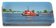 Little Red Boat On The Mighty Mississippi Portable Battery Charger by Alys Caviness-Gober