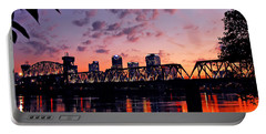 Little Rock Bridge Sunset Portable Battery Charger by Mitchell R Grosky