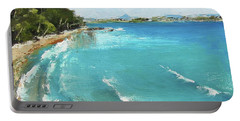 Portable Battery Charger featuring the painting Litttle Cove Beach Noosa Heads Queensland Australia by Chris Hobel