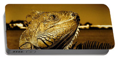 Lizard Sunbathing In Miami II Portable Battery Charger