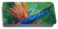 Portable Battery Charger featuring the painting Lizard On Bird Of Paradise by Eloise Schneider