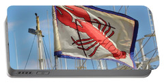 Lobster Flag At The Point Portable Battery Charger by Mary Carol Williams