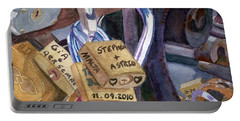 Portable Battery Charger featuring the painting Locks Of Luck by Lynne Reichhart