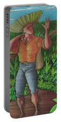 Portable Battery Charger featuring the painting Loco De Contento by Oscar Ortiz