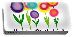 Portable Battery Charger featuring the digital art Lollipop Flowers  by Christine Fournier