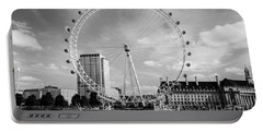 Portable Battery Charger featuring the photograph London Eye Head-on Bw by Matt Malloy