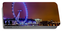 Portable Battery Charger featuring the photograph London Eye Night Glow by Matt Malloy