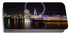 Portable Battery Charger featuring the photograph London Eye Night by Matt Malloy