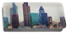 Portable Battery Charger featuring the digital art London Skyline by Ron Harpham