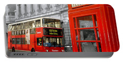 London With A Touch Of Colour Portable Battery Charger by Nina Ficur Feenan